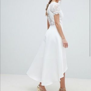 Gorgeous High Low Hem Dress with Lace Sleeves!
